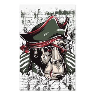 monkey the pirate cute design customized stationery