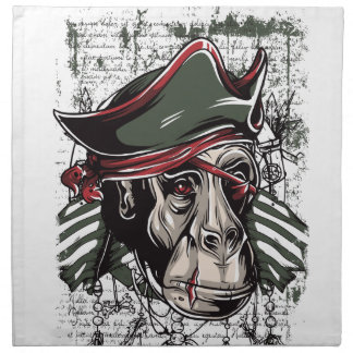 monkey the pirate cute design napkins