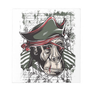 monkey the pirate cute design notepad