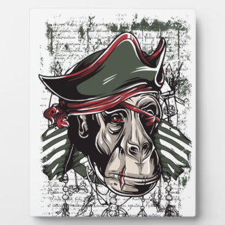 monkey the pirate cute design plaque