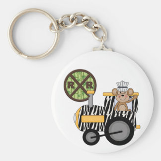 Monkey Train Engineer T-shirts and Gifts Basic Round Button Keychain