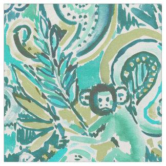 Monkey Trickster Paisley Jade Watercolor Pattern Fabric