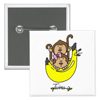 Monkey Twin Boy and Girl Tshirts and Gifts 2 Inch Square Button