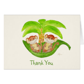 Monkey Twins Thank You Notecard