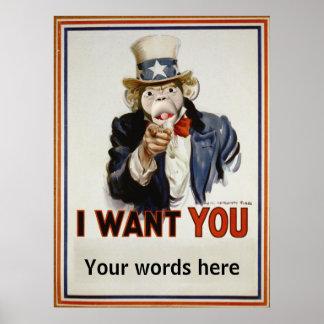 Monkey Uncle Sam Poster
