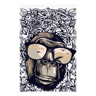 monkey vintage with glasess customized stationery