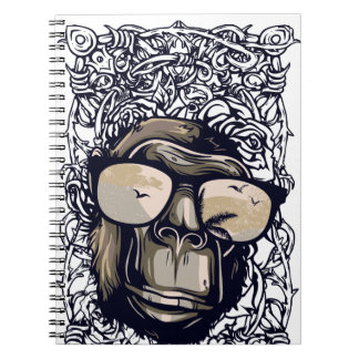 monkey vintage with glasess spiral notebook