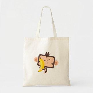 monkey with banana budget tote bag