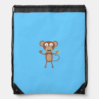 monkey with banana drawstring bags
