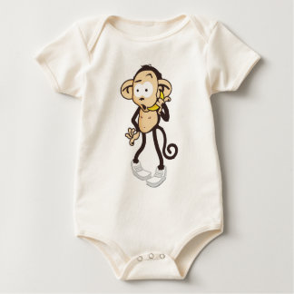 Monkey with banana mobile phone baby bodysuit