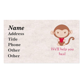 Monkey with heart pack of standard business cards