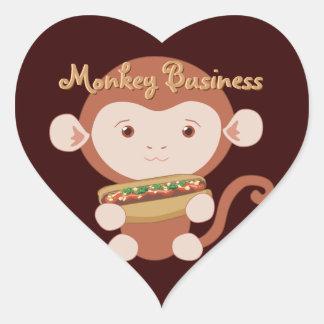 Monkey with Hotdog Heart Stickers