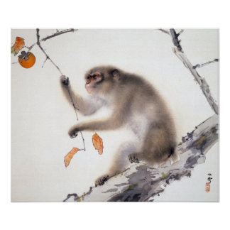 Monkey with Persimmons Poster