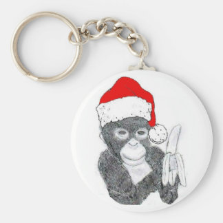 MONKEY WITH SANTA HAT AND BANANA KEYCHAIN