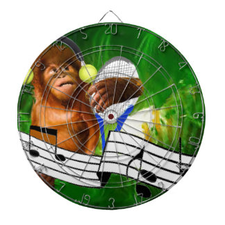 Monkey with tennis balls and racket dartboard with darts