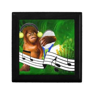 Monkey with tennis balls and racket keepsake boxes