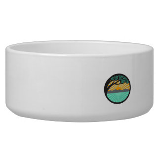 Monkeypod Tree Mountain Sea Sunrise Oval Retro Dog Bowl