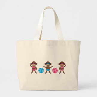 MonkeyPoolParty6 Large Tote Bag