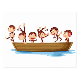 Monkeys and boat postcard