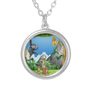 Monkeys and meerkats in the forest silver plated necklace