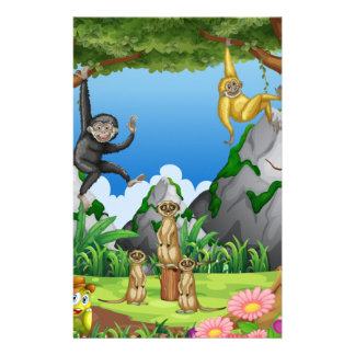 Monkeys and meerkats in the forest stationery design