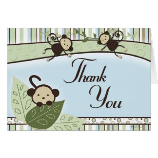 Monkeys and Thank You Note Card