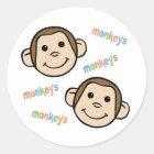 Monkeys Classic Round Sticker