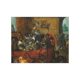 Monkeys feasting canvas print