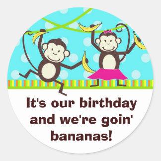 Monkeys Going Bananas Classic Round Sticker