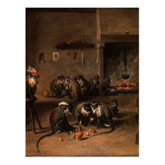 Monkeys in a Kitchen by David Teniers the Younger Postcard