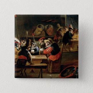 Monkeys in a Tavern, detail of the card game 2 Inch Square Button