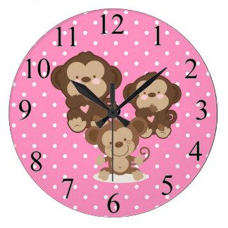 Monkeys Large Clock