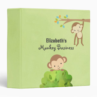 Monkeys - Playful and Cute Personalized 3 Ring Binder