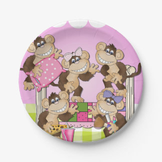 Monkeys Slumber Party Birthday Paper Plate 7 Inch Paper Plate