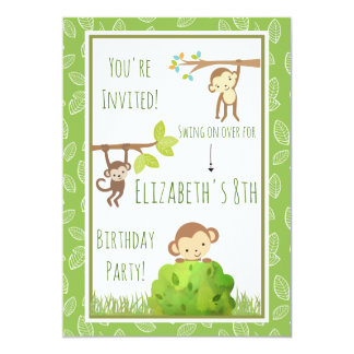 Monkeys Swinging From Trees Birthday Party Card