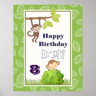 Monkeys Swinging From Trees Happy Birthday Poster