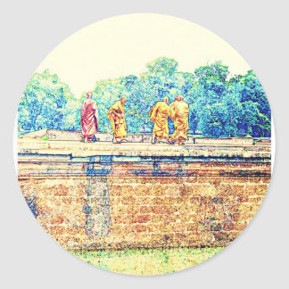 Monks @ Angkor Wat Round Sticker