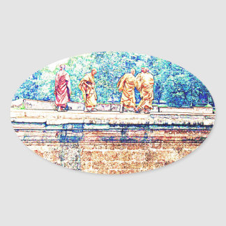 Monks @ Angkor Wat Oval Sticker