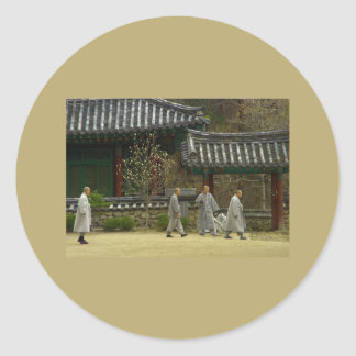 Monks at palgong mountain, South Korea Classic Round Sticker