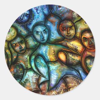 Monks by rafi talby round sticker