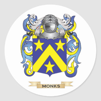 Monks Coat of Arms (Family Crest) Round Stickers