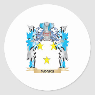 Monks Coat of Arms - Family Crest Round Stickers