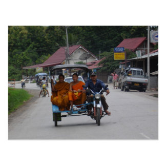 Monks on a tuk tuk postcard