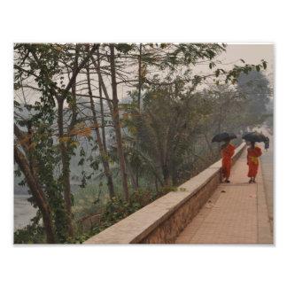 Monks on sidewalk in Luang Prabang, Laos wall art