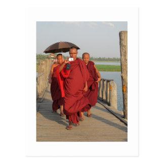Monks on U-Bein Bridge, Mandalay Postcard