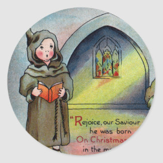 Monks Singing Carol Antique Christmas Round Sticker