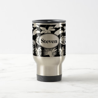 Monnogrammed Tropical Foliage Silhouettes Travel Mug