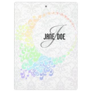 [MONO-RAIN-1] Pastel Rainbow Filigree Monogram Clipboard