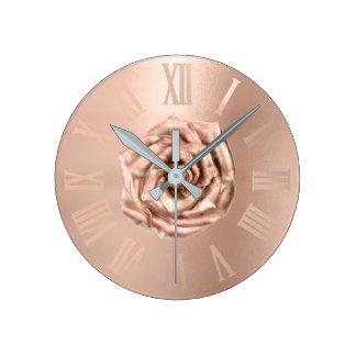 Monochrom Rose Gold Copper Metallic Roman Numers Round Clock
