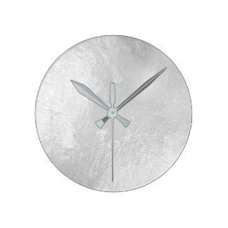 Monochrom Silver Metallic Glass Gray Minimal Round Clock